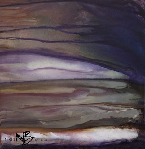 Kelowna Abstract Artist resin purple layered