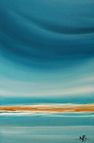Kelowna Abstract Artist blues ocean wave horizon surf sunshine