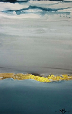 Kelowna Abstract Artist art grey blue gold