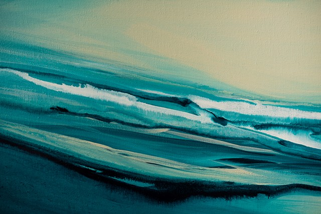 Kelowna Abstract Artist blues ocean wave surf art ocean blue teal water artwork soothing calming horizon sea kelowna