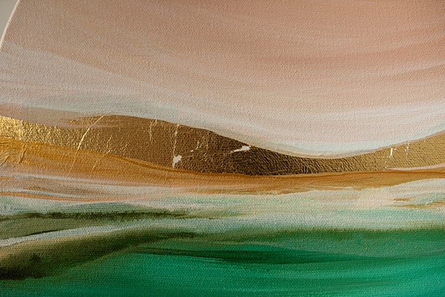 Kelowna Abstract Artist Peach Gold Green