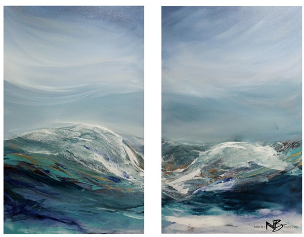 Kelowna Abstract Artist teal turquoise blue gold ocean sea seascape surf art painting on canvas diptych