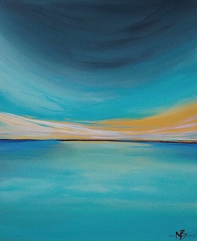 Kelowna Abstract Artist blues ocean wave surf art horizonline golden light glow teal blues sunset sunrise original artwork painting