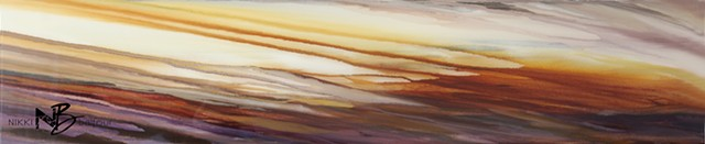 Kelowna abstract artist painting resin horizontal sunset sky