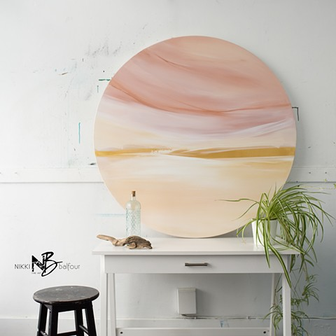 Kelowna abstract artist round canvas soft pink gold colour palette