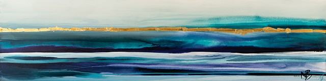 Kelowna Abstract artist painting teal turquoise blues gold purple horizon line