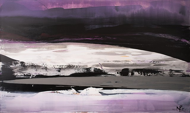 Kelowna Abstract Artist black white purple fuchsia grey