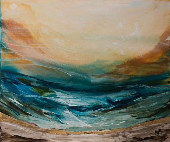 Kelowna Abstract Artist ocean bright colourful abstract waves surf teal mandarin orange gold artwork