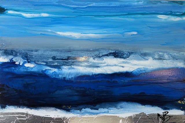 Kelowna Abstract Artist blue ocean sea seascape surf art painting on canvas collection gallery waves