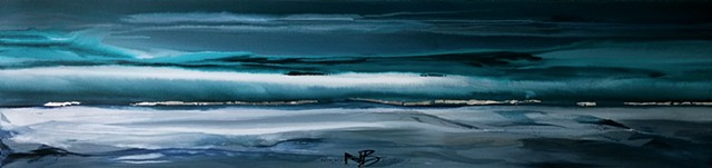 Kelowna Abstract Artist black white teal