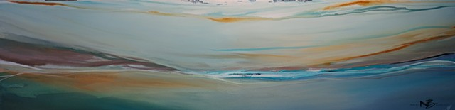 Kelowna Abstract Artist pastel palette colourful horizon seascape pale calming blues peach green