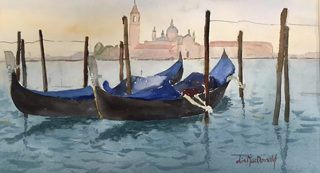 Venice, watercolor, art, gondolas