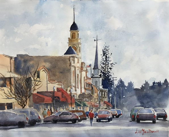 Watercolor art, Sonoma, CA, Cityscape, Sebastiani Theatre