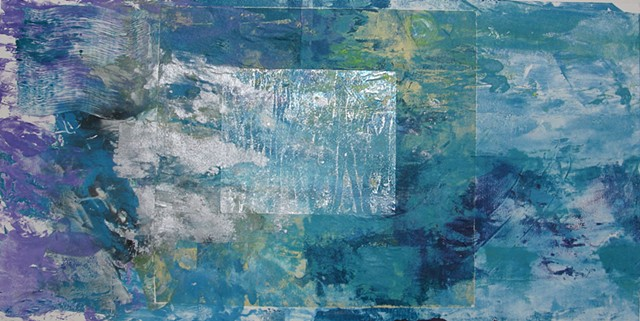 "Birches - Reflections Monoprint 12"" x 24"""