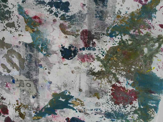 Remains Monoprint with collage 8'' x 10''