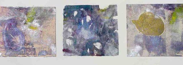Trio  Monoprint 4'' x 12''