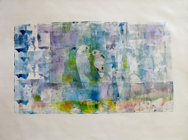 Love Birds Monoprint 13'' x 24''