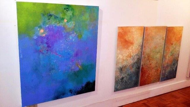 "left, ""Caribbean Blue"", 2016 Acrylic on Canvas right, ""Opalescent"" Triptych, 2015 Acrylic on Canvas Courtesy of Roberta Zlokower"