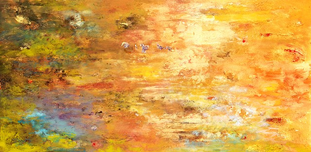 "Currents II Acrylic on Paper, Mounted On Canvas 20"" x 40"""