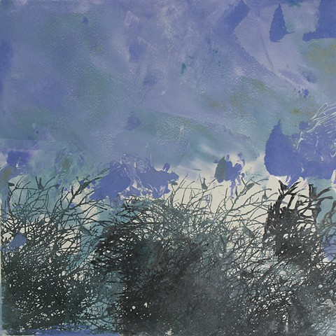 Brambles at Dusk Monoprint 12in x12in