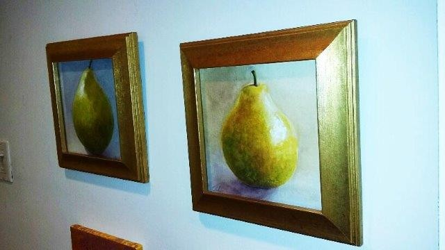 "left, ""Pear I"", 2014 Watercolor right, ""Pear II"", 2014 Watercolor Courtesy of Roberta Zlokower"