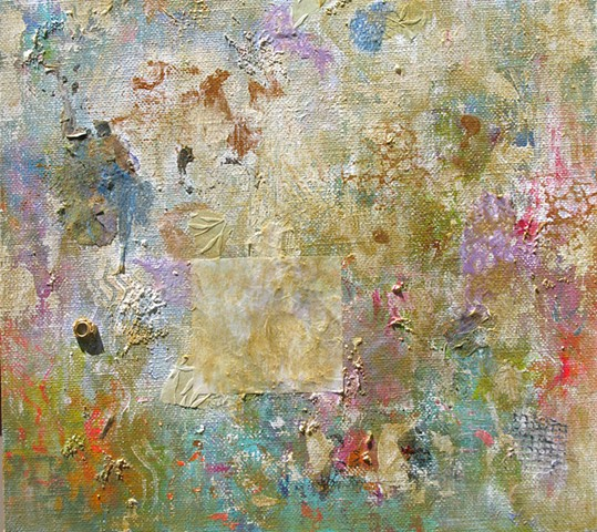 Textured Dream Acrylic on Canvas with Collage 18'' x 18''