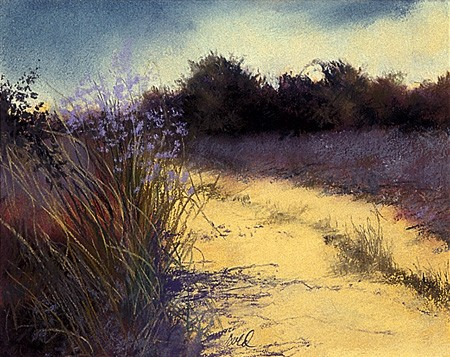 "Path, Lavender Flowers Pastel 9"" x 11"""