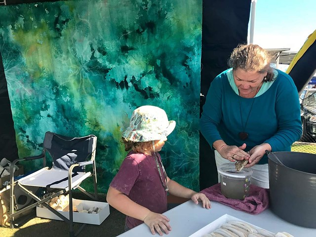 Cuttlefish carving workshops at 'Oceanfest' Burnett Heads 2017 + 2018.