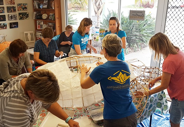 Community workshop in paper lantern making held at Creative Regions HQ