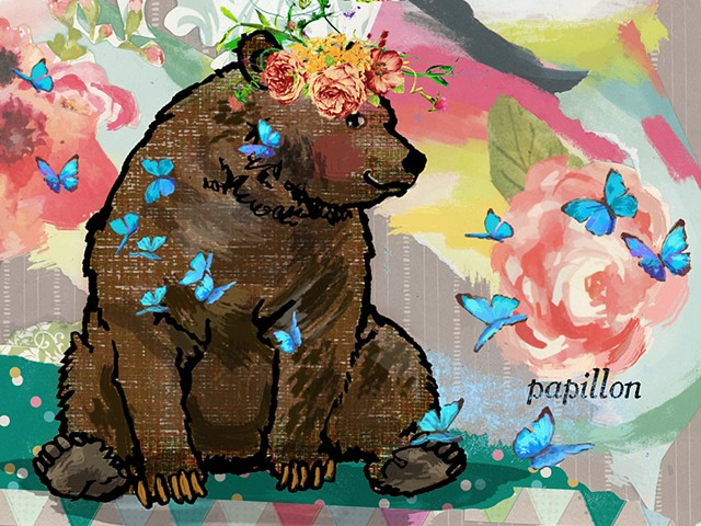 bear, flowers, butterflies, gouache, acrylic, cartoon, black and white, Patricia Keeler, digital, fantasy, graphic, panterly, pastel, watercolor, and colored pencil, children's books, picture books, illustration, board books, greeting cards, cards, childr