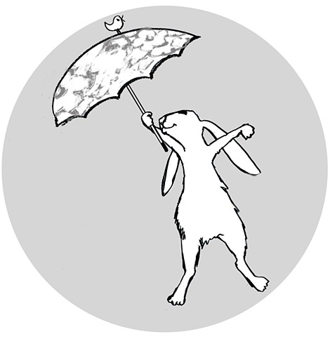 rabbit, bunny, hare, umbrella, rain, children's book illustration