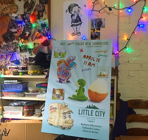 POSTER FOR LITTLE CITY BOOKSIGNING taken in my studio