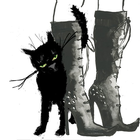 black cat, cat, witches cat, witches boots, boots