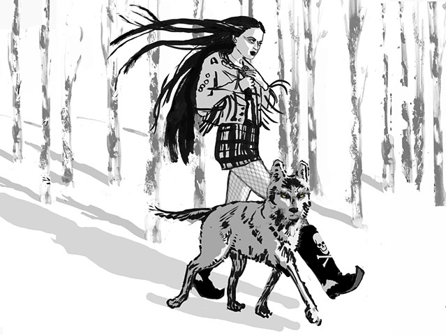 WITCH WITH WOLF FAMILIAR