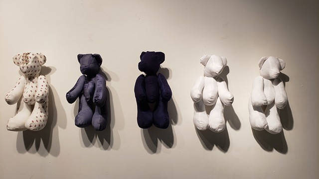 Teddy bears made out of donated fabrics