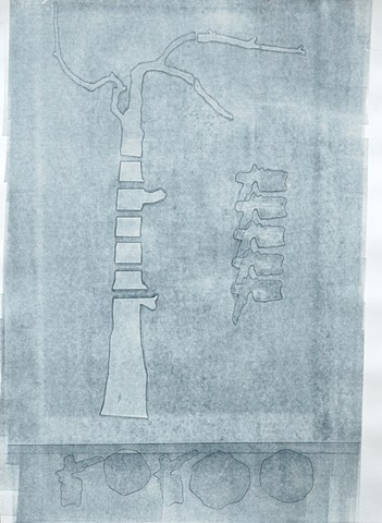 monoprint (monotype) tree with vertebrae