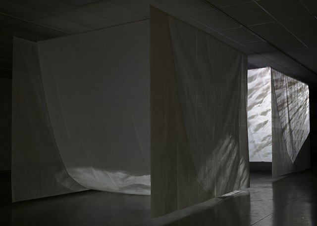 installation wax paper water video projection