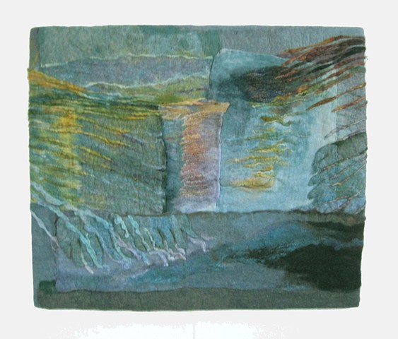 handmade felt wall piece made of dyed, unspun wool and yarns, by Sharron Parker. Inspired by the changing light and colors of Dingle Bay, Ireland.