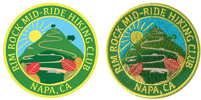 Custom patch designed in Adobe Illustrator for the Rim Rock Hiking Club, Napa, CA.
