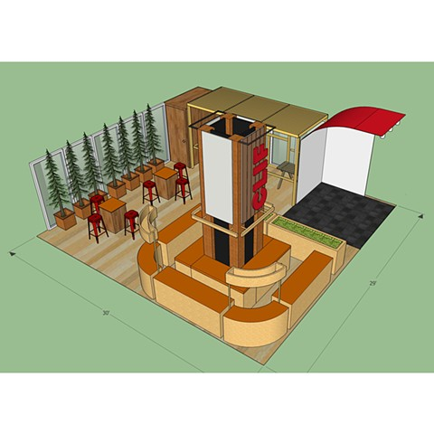 Clif Bar & Company 2017 Winter OR trade show booth drawn in SketchUp.