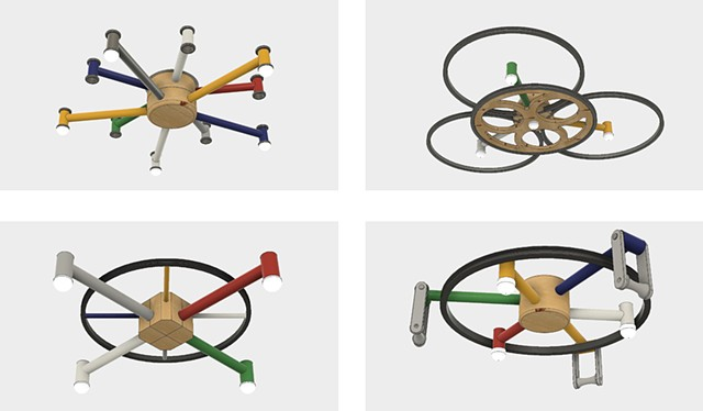 "Concepts for custom light fixtures. Proposed designs for a custom light fixture for the Velo Vino winery in St. Helena CA. Designs combined recycled bike frames, cranks, hubs, rims, LED's, 4x4"" Doug Fir beams and Baltic Birch Plywood. Modeled in Fusion360"
