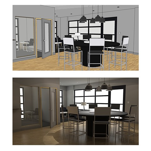 Bishop Keller Office remodel for client drawn in SketchUp (top) and rendered in SU Podium (bottom). 2017