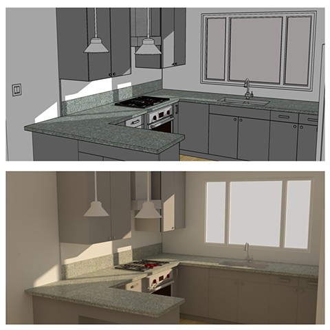 Kitchen remodel for client drawn in SketchUp (top) and rendered in SU Podium (bottom). 2017