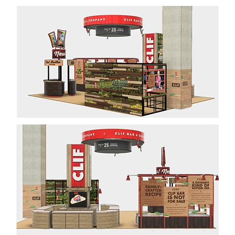 Clif Bar & Company 2017 NPEW trade show booth rendered in Fusion360.