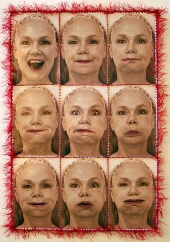 "SELF PORTRAIT with GRAPES  digital photographs, silk thread, lipstick  24.5"" x 18""   n.f.s."