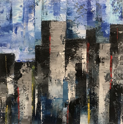 Midcentury paintings, abstract cityscapes