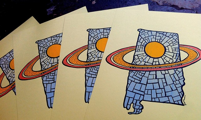 Saturn prints (printed by Yellow Hammer Creative)