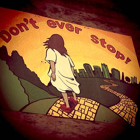 """Don't Ever Stop"" mural in memory of Mark Lindsey"