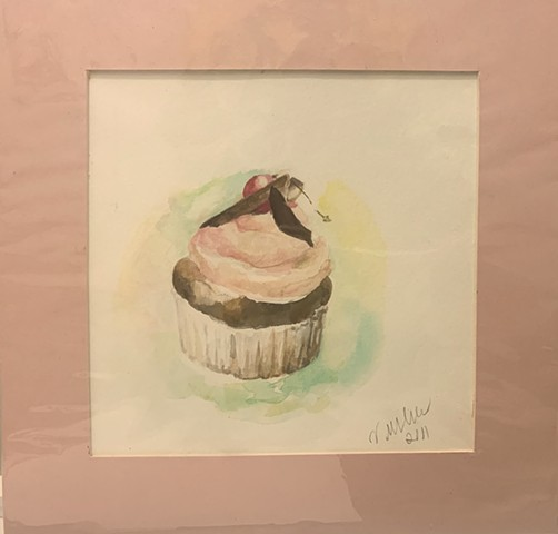 Cupcake with Strawberry Frosting