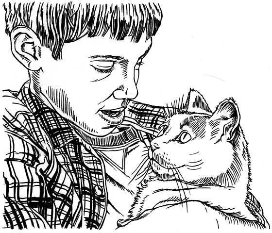 Boy loves kitty cat (study)